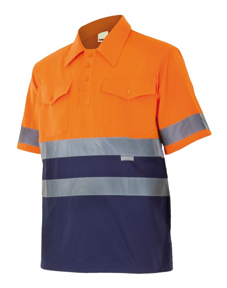 Camisa bicolor de manga corta de alta visibilidad VELILLA