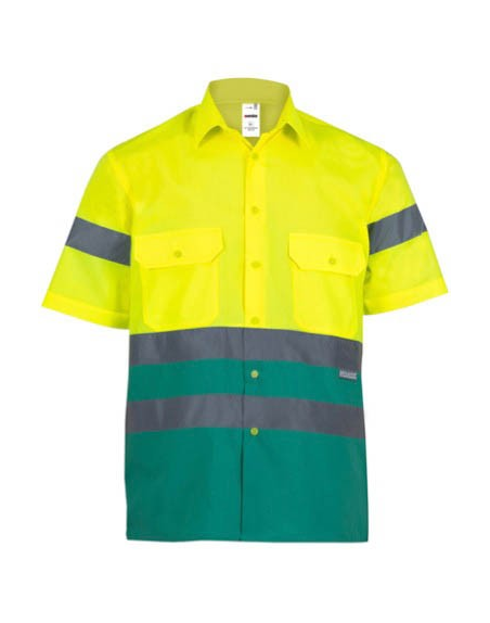 Camisa bicolor de alta visibilidad de manga corta VELILLA