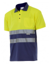 Polo bicolor de alta visibilidad de manga corta
