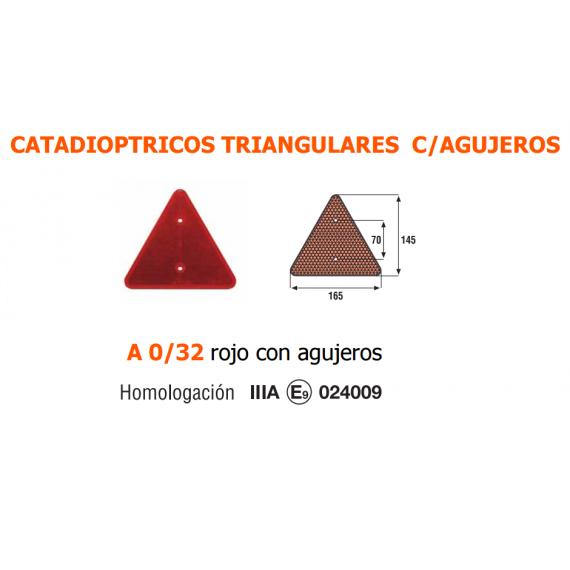 CATADIOPTRICO TRIANGULAR ROJO CON AGUJEROS